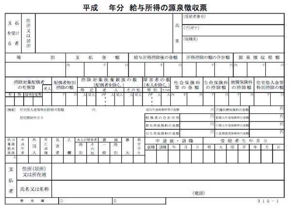 平成27年分源泉徴収票5つの疑問:配偶者が無しになってる?