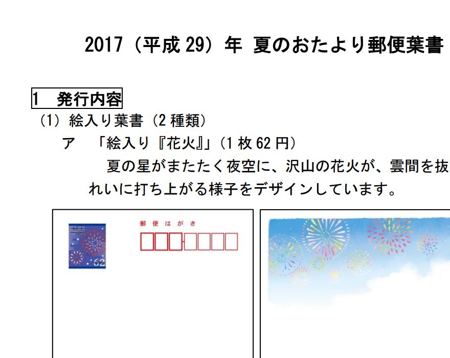 夏のおたより時に注意:2017(平成29)年6月1日から郵便はがき(通常はがき)が62円に